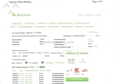 Regions Bank Banking Service review 12445