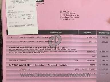 Gbs Enterprises Furniture Warranty review 204930