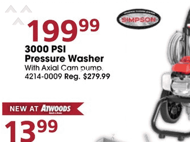 Atwoods - Bait and Switch in Black Friday Ad on Simpson Pressure Washer