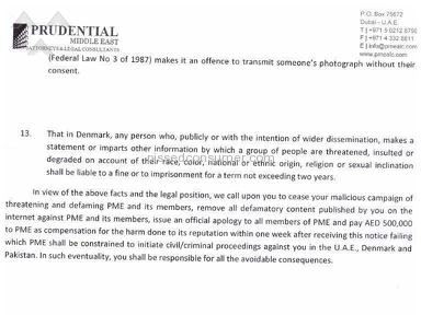 Reply of Charges published against Prudential Middle East Legal Consultants / Shakeel A.Mian by Mr.Thomas Jaskov/ Jaskov Consult