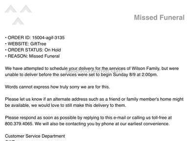 GiftTree.com lies about next day funeral service delivery.