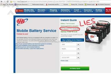 American Automobile Association - FALSE ADVERTISING for Mobile Battery replacement