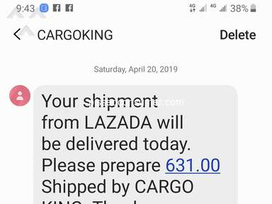 Lazada Philippines - Cargo King Baguio not a reliable courier