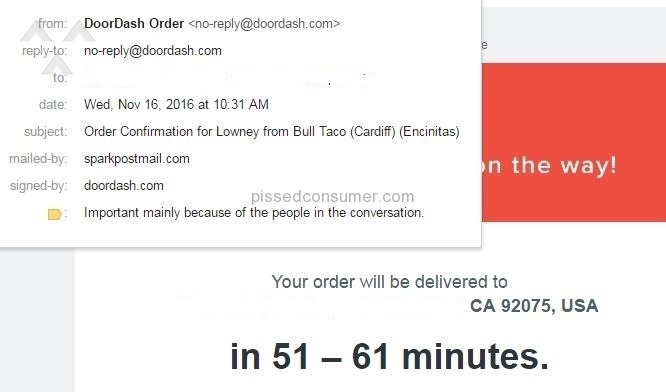 Doordash Delivery Service review 174886  sc 1 st  Doordash - Pissed Consumer & Resolved: DoorDash Cancelled My Order 5-minutes Before Expected ...