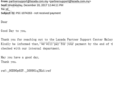 Lazada Malaysia - Lazada Delayed our payment for 3 months