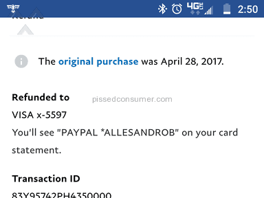 Green Dot Corporation - PayPal refunded money,gave me print showing they did . Green don't won't refund money