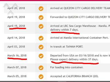 "LBC Express - Parcel from California via Sea Cargo. Their ""sorting"" is taking forever!"