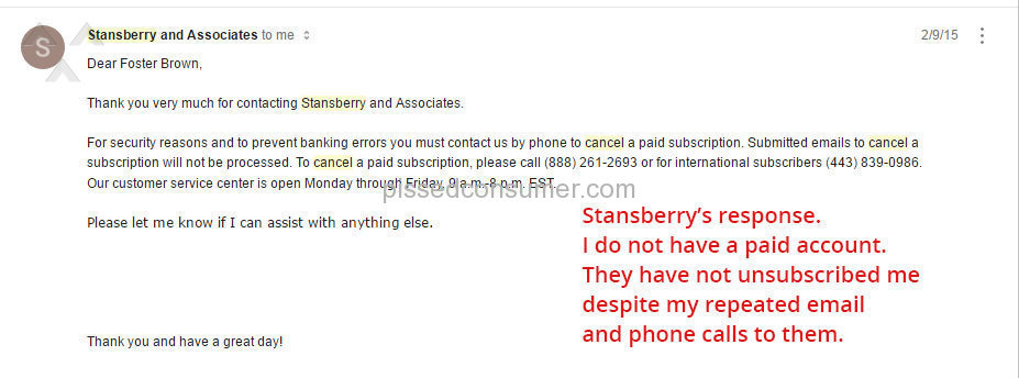 4 STANSBERRY RESEARCH Reviews and Complaints @ Pissed Consumer