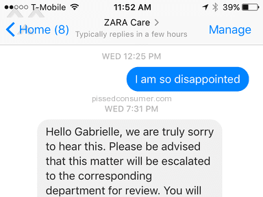 Zara Customer Care review 186930