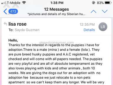 "Uship - LISA ROSE "" SELLING HUSKY SCAM"""