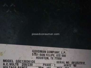 Goodman Manufacturing Equipment review 47063