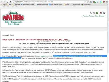Papa Johns Pizza - Papa John's pizza overcharging on 30 cent deal