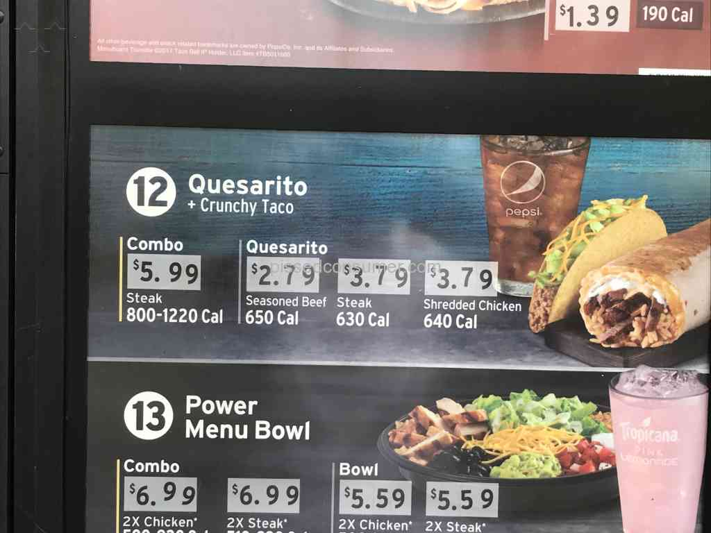 taco bell - charged more than advertised menu price!! pictures