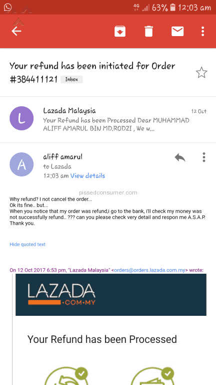 Lazada Malaysia - Order item tak sampai,di cancel,refund