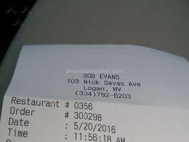 Bob Evans Restaurants - Wrong order