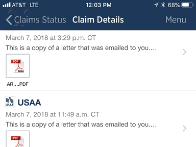Usaa - Claims for damage as a member