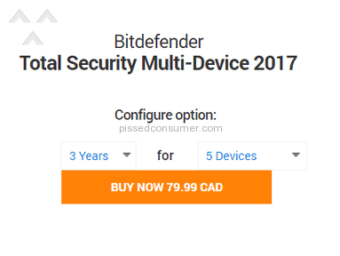 Bitdefender - Won't honour advertised price on their own site!