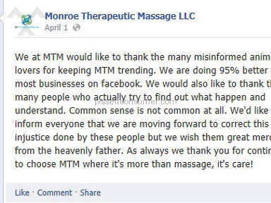 Monroe Therapeutic Massage LLC Animal Services review 61255