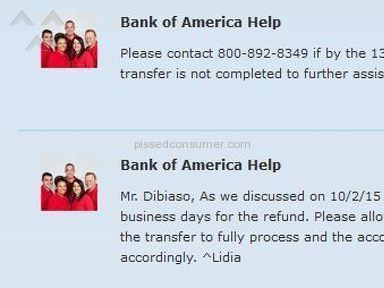 Bank of America has not refunded money owed 6 weeks after processing payment twice