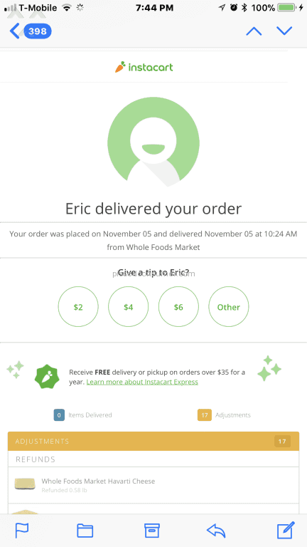 Instacart - Don't waste your time  Use a different service Oct 04