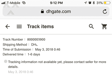 Dhgate - Was charged but got nothing in return