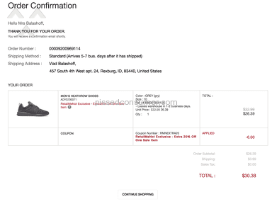 DC Shoes - Order failed in the system and I had to re-order