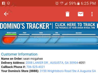 Dominos Pizza - Food quoted 90 min delivery, not even started cooking at 90m