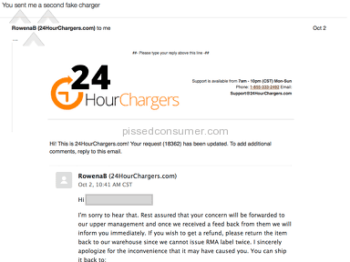 24hourchargers - FAKE Mac charger, no refund
