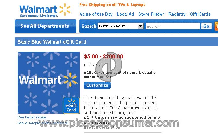 Walmart - E-gift card Mar 29, 2017 @ Pissed Consumer