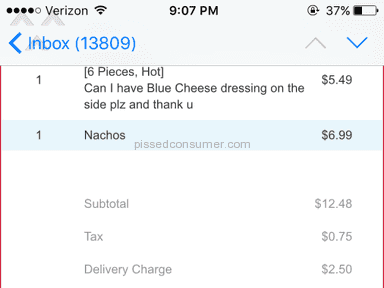 Grubhub Online Order Review from Hyattsville, Maryland
