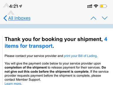 Uship - Account suspended because carrier threatened my sister and wanted cash