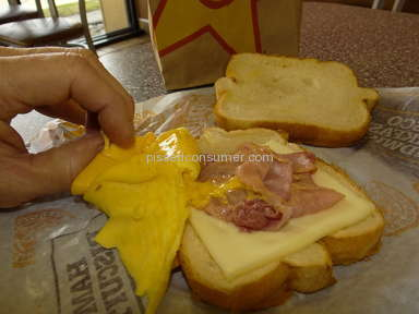 Hardees - Photo of Frisco Breakfast Sandwish on menu an outright LIE.