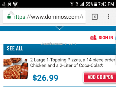 Dominos Pizza - Got ripped off