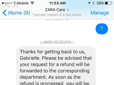 Zara Customer Care review 186938
