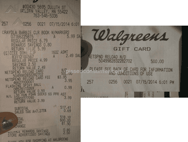 Purchased $500 NetSpend Reload Card from Walgreens but No Money on the Card