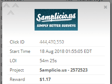 Samplicio Us - 54m survey just to be said enough have answered already.
