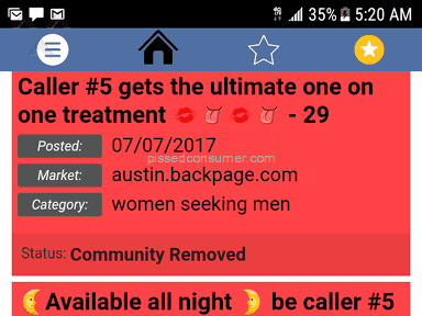 Backpage - 7 ads in one night community removed