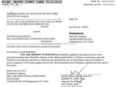 HIBU v Certified Public Insurance Adjusters CASE INFO: NYS Nassau Supreme Index No.: 01309-13