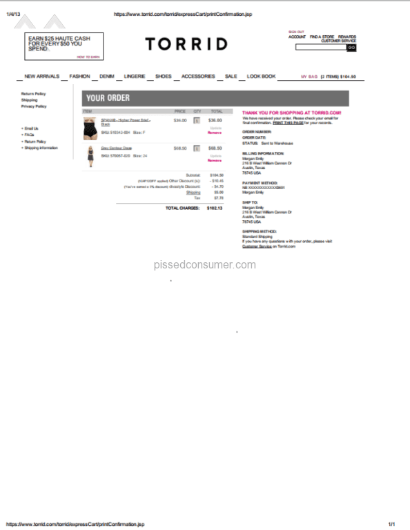 76fab08995c 8 Torrid Coupon Reviews and Complaints   Pissed Consumer