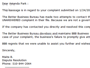 Brave New Look - No response to BBB filed complaint
