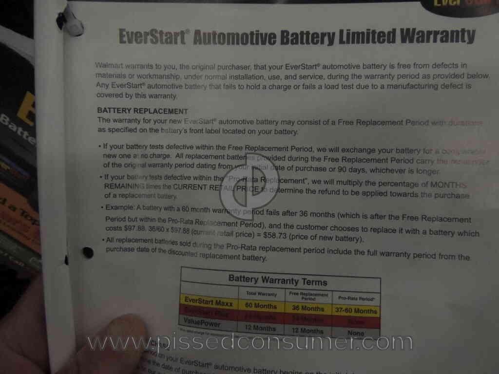 Walmart auto battery warranty complaint Sep 16, 2018