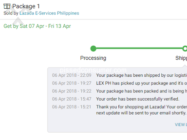 Lazada Philippines - MY ORDER IS ALMOST 1 WEEK LATE