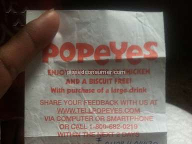 Popeyes Louisiana Kitchen - Not pleased