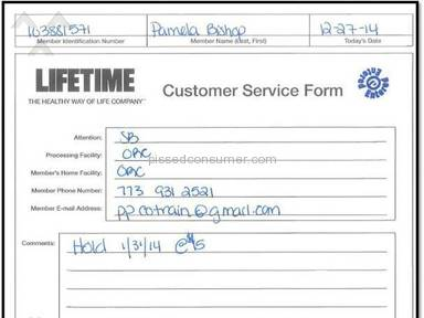 Lifetime Fitness - Complain
