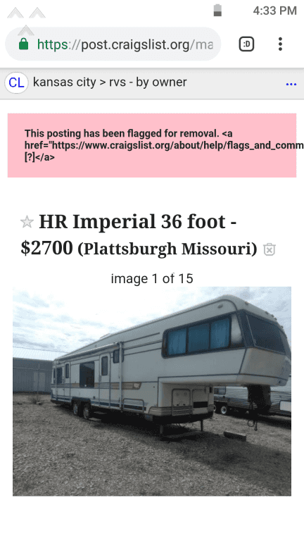 Craigslist Rv Ad Being Flagged For No Reason Jul 24 2020 Pissed Consumer