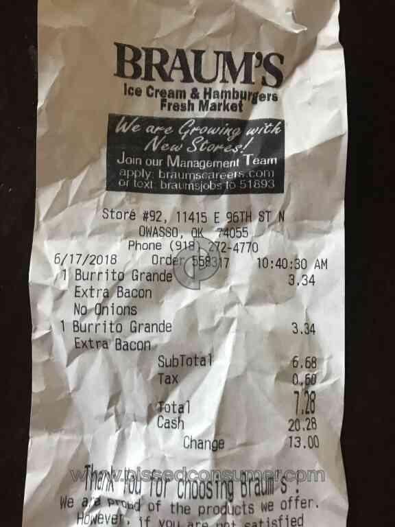 Braums complaint phone number