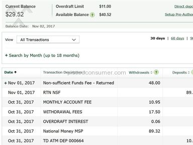 Td Canada Trust - Kicks you when you are down with *** fees & NSF charges
