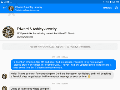 Edward And Ashley Jewelry - Haven't received my order