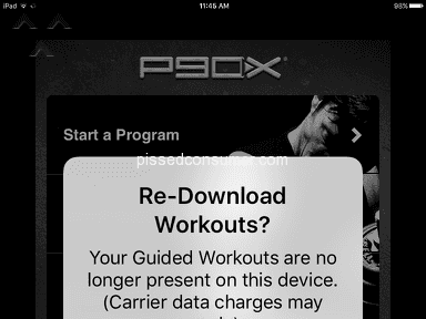 P90X App - Purchased video data deleted by Beachbody
