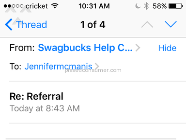 Swagbucks Customer Care review 210978